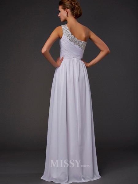 Sheath One-Shoulder Chiffon Floor-length Evening Dress With Beading
