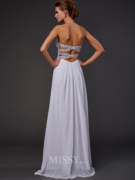 Sheath Strapless Floor-length Chiffon Evening Dress With Beading
