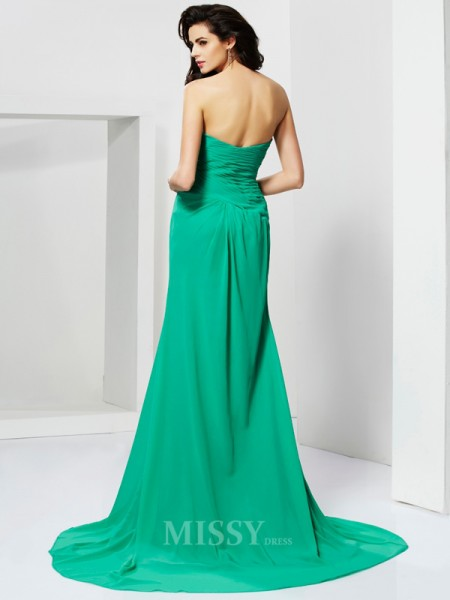 Sheath Sweetheart Chiffon Sweep Train Evening Dress With Beading