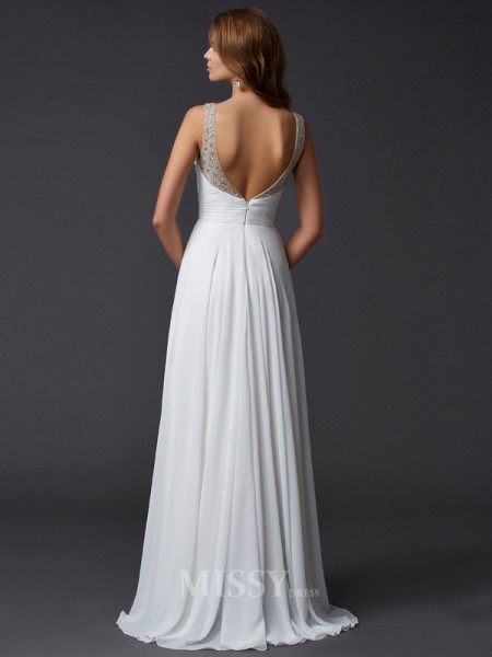 Sheath Straps Chiffon Floor-Length Evening Dress With Pleats