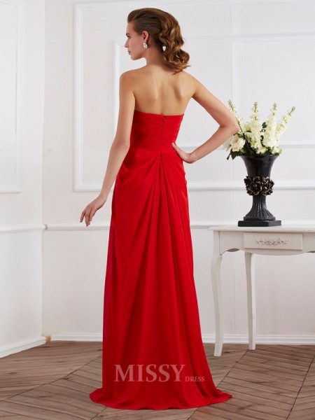 Sheath Strapless Chiffon Floor-Length Evening Dress With Pleats