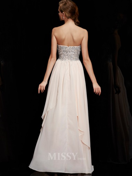 Sheath Sweetheart Chiffon Floor-Length Evening Dress With Lace