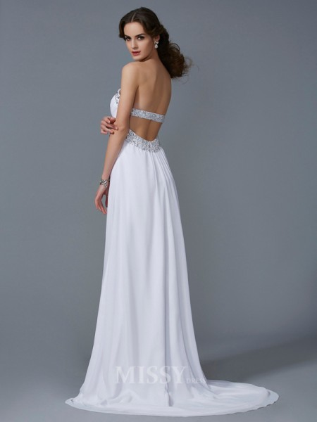 A-Line Strapless Chiffon Sweep Train Evening Dress With Embroidery