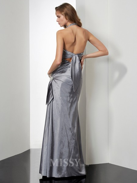 Mermaid Halter Floor-length Taffeta Evening Dress With Sequin