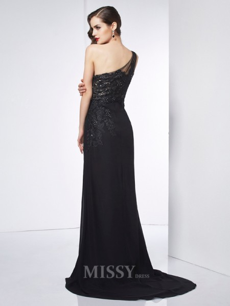 Sheath One-Shoulder Sweep Train Chiffon Evening Dress With Lace