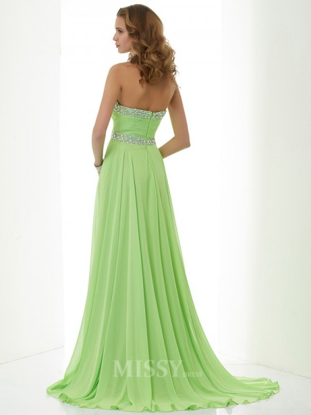 A-Line Sweetheart Sweep Train Chiffon Evening Dress With Beading