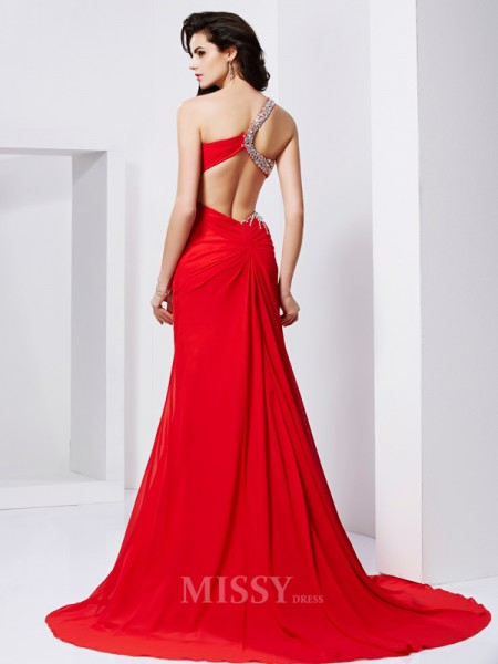 Mermaid Sweetheart Sweep Train Chiffon Evening Dress With Beading