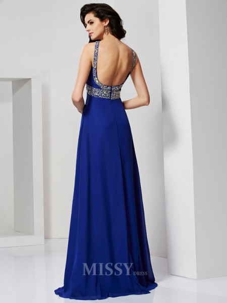 A-Line Sweep Train Chiffon Evening Dress With Beading