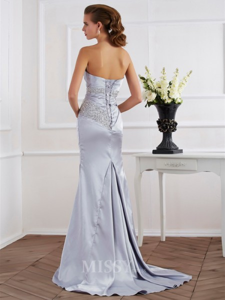Mermaid Strapless Elastic Woven Satin Evening Dress With Embroidery