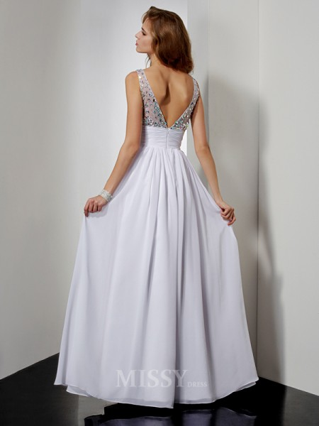 A-Line V-neck Floor-length Chiffon Evening Dress With Sequin