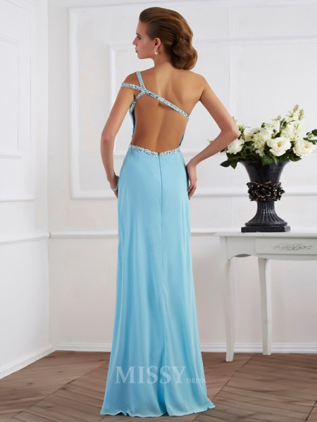 A-Line One-Shoulder Floor-Length Chiffon Evening Dress With Sash