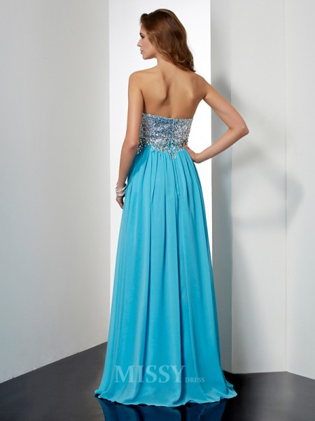 A-Line Strapless Floor-Length Chiffon Evening Dress With Embroidery