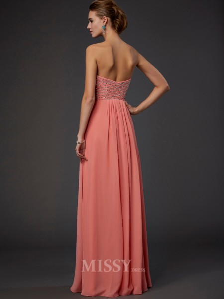 A-Line Sweetheart Floor-length Chiffon Evening Dress With Pleats