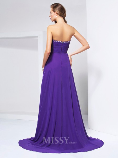 A-Line Sweetheart Sweep Train Chiffon Evening Dress With Sash