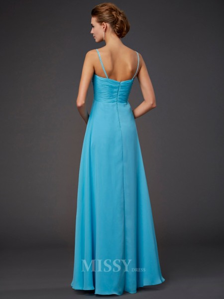 A-Line Spaghetti Straps Floor-Length Chiffon Evening Dress With Beading