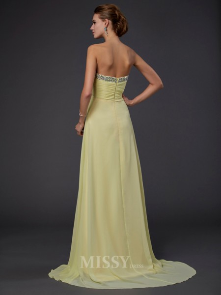A-Line Sweetheart Floor-length Chiffon Evening Dress With Ruched