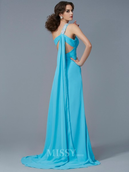 Sheath One-Shoulder Chiffon Sweep Train Evening Dress With Applique