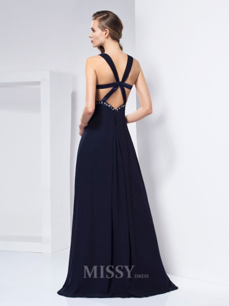 A-Line V-neck Floor-length Chiffon Evening Dress With Ruffles