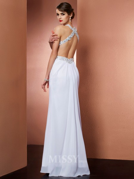 A-Line Halter Chiffon Floor-Length Evening Dress With Applique