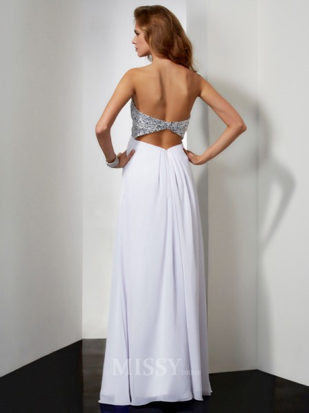 Sheath Sweetheart Floor-Length Chiffon Evening Dress With Beading
