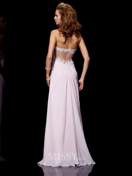 Sheath Sweetheart Chiffon Floor-Length Evening Dress With Applique