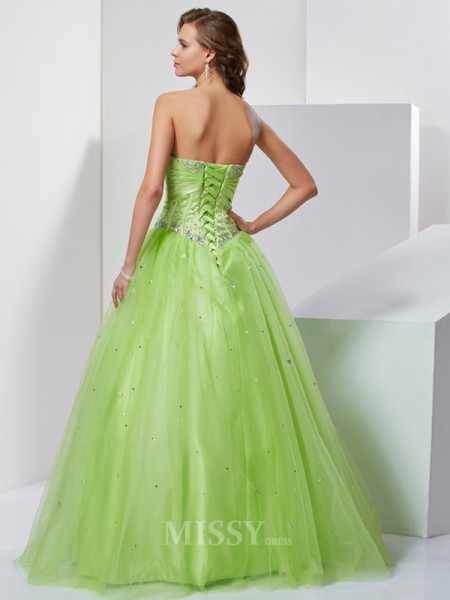 Ball Gown Sweetheart Floor-Length Tulle Evening Dress With Beading