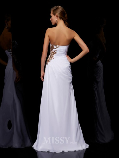 Sheath Floor-Length Strapless Chiffon Evening Dress With Applique