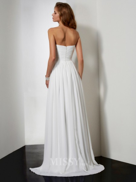 A-Line Sweep/Brush Train Strapless Chiffon Evening Dress With Beading