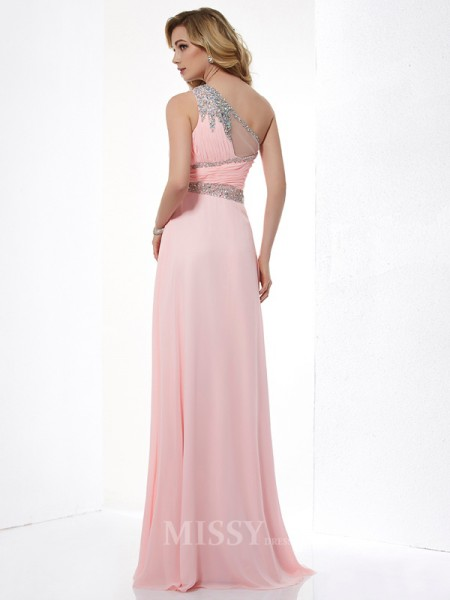 A-Line One-Shoulder Chiffon Floor-Length Evening Dress With Beading