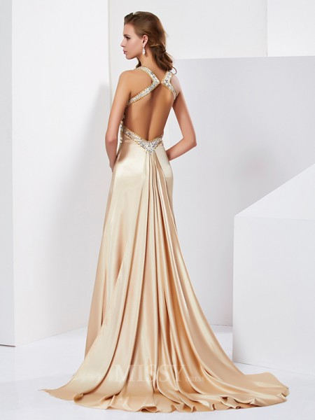 Sheath Halter Sweep Train Silk like Satin Evening Dress With Beading