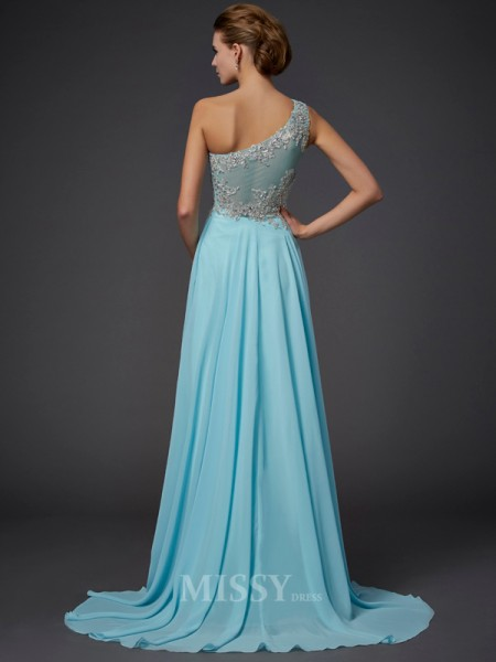 A-Line One-Shoulder Chiffon Floor-Length Evening Dress With Ruffles