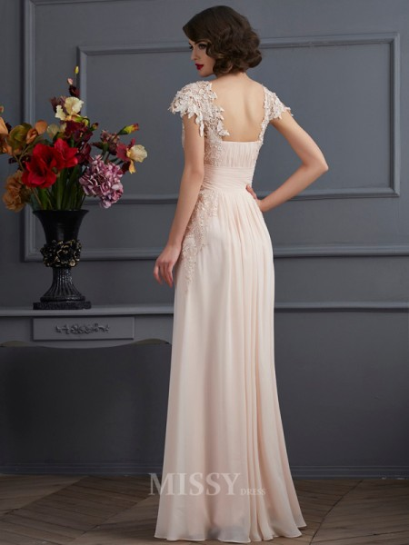 A-Line Square Short Sleeves Floor-Length Chiffon Evening Dress With With Embroidery
