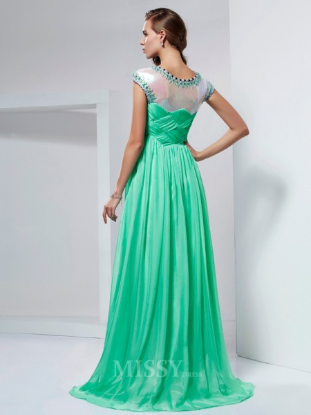 A-Line High Neck Floor-Length Chiffon Evening Dress With Sash