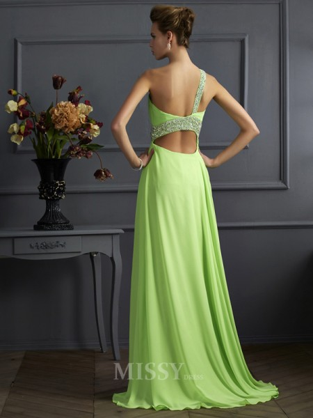 A-Line One-Shoulder Floor-Length Chiffon Evening Dress With Ruffles