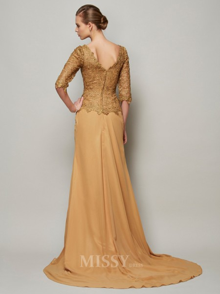Sheath V-neck Chiffon Floor-Length Lace 1/2 Sleeves Evening Dress