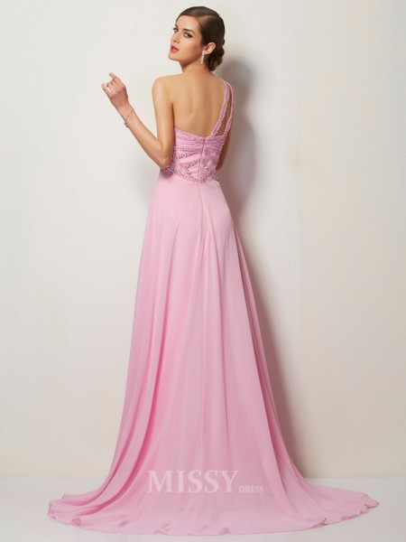 A-Line One-Shoulder Chiffon Sweep Train Evening Dress With Beading