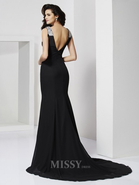 A-Line Floor-Length Straps Chiffon Evening Dress With Beading