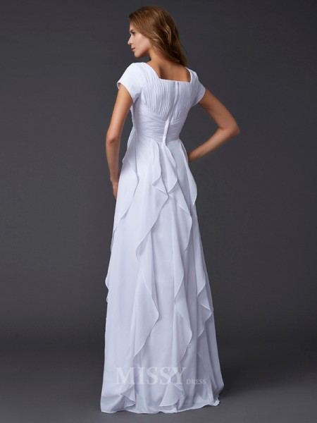 Sheath Short Sleeves Square Chiffon Floor-Length Evening Dress With Ruffles
