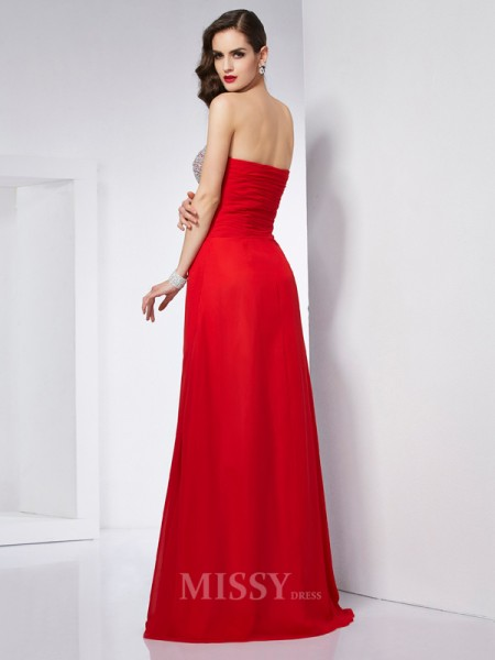A-Line Strapless Chiffon Floor-Length Evening Dress With Sequin