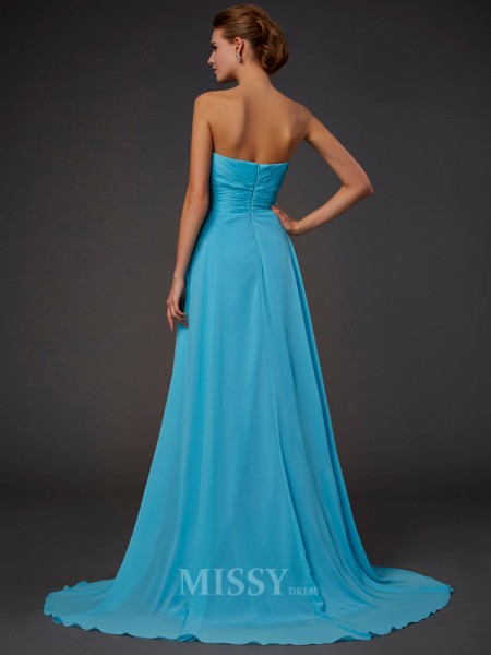 A-Line Sweetheart Sweep Train Chiffon Evening Dress With Lace