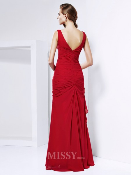 Sheath Chiffon Floor-Length V-neck Evening Dress With Beading