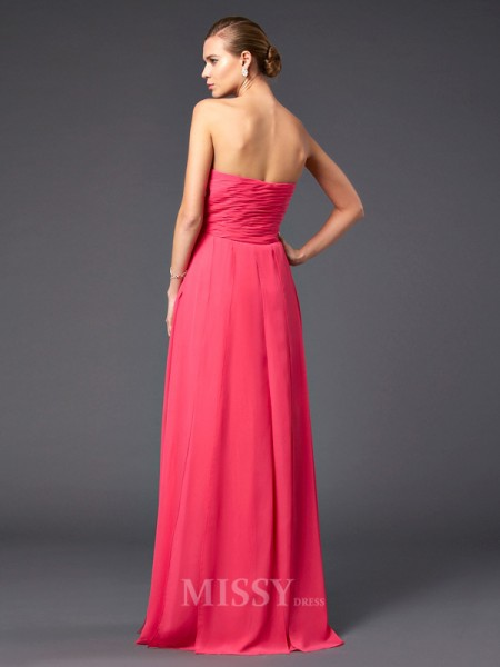 A-Line Floor-Length Sweetheart Chiffon Evening Dress With Beading