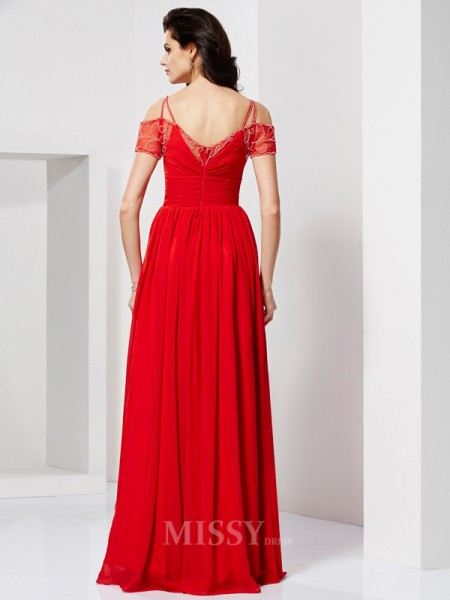 A-Line Spaghetti Straps Chiffon Floor-length Short Sleeves Evening Dress With Beading