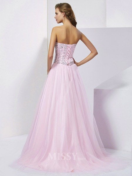 Ball Gown Sweetheart Floor-Length Satin Evening Dress With Sequin