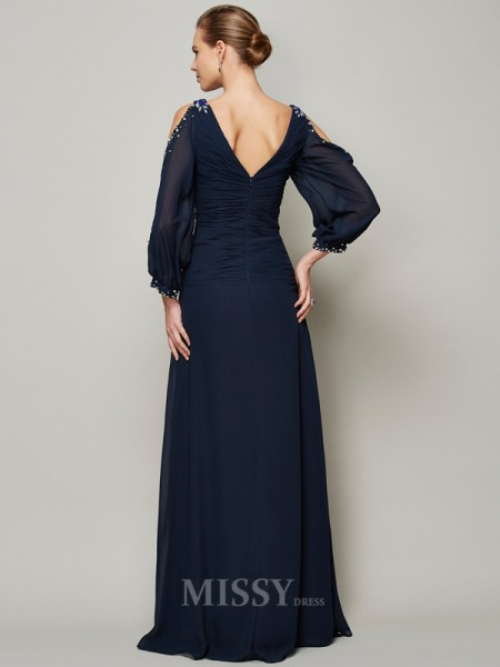 A-Line V-neck Long Sleeves Chiffon Evening Dress With Applique
