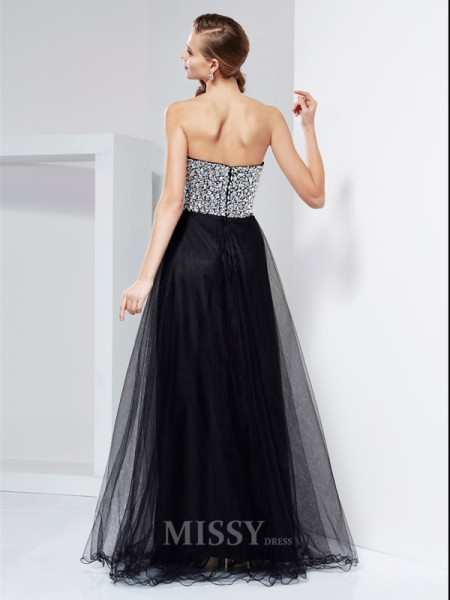 A-Line Floor-Length Strapless Elastic Woven Satin Evening Dress With Ruched