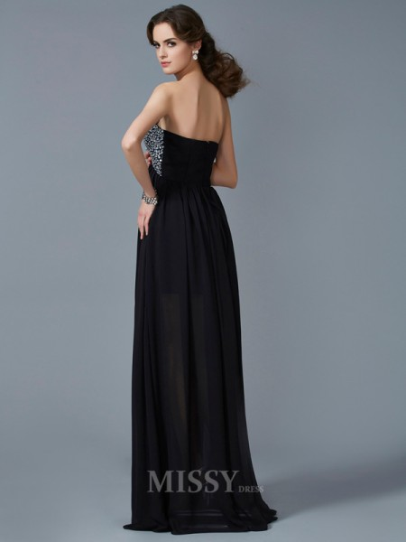 A-Line Sweetheart Floor-Length Chiffon Evening Dress With Embroidery