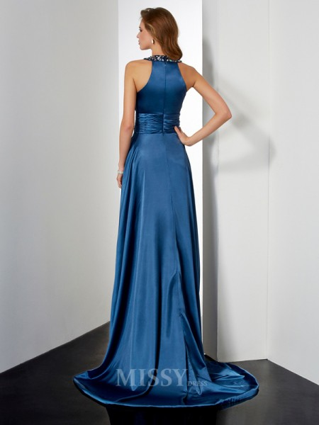 A-Line Halter Floor-Length Elastic Woven Satin Evening Dress With Applique