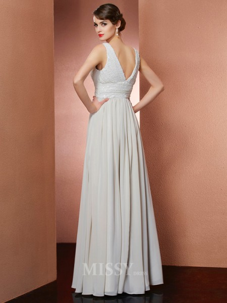 A-Line V-Neck Floor-Length Chiffon Evening Dress With Rhinestone