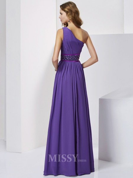 Empire One-Shoulder Floor-Length Chiffon Evening Dress With Ruched